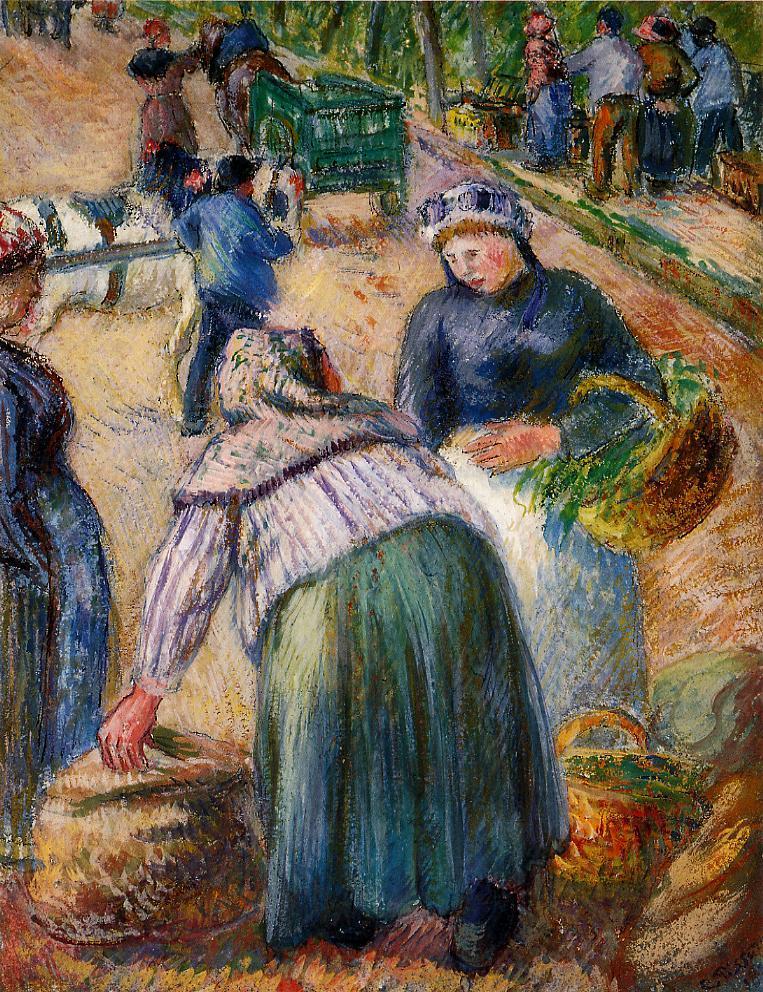 Camille Pissarro, 7IE-1882-128, Le marché des fossés, gouache. Uncertain: 1882, Potato Market, Boulevard des Fosses, Pontoise, gouache, xx, private