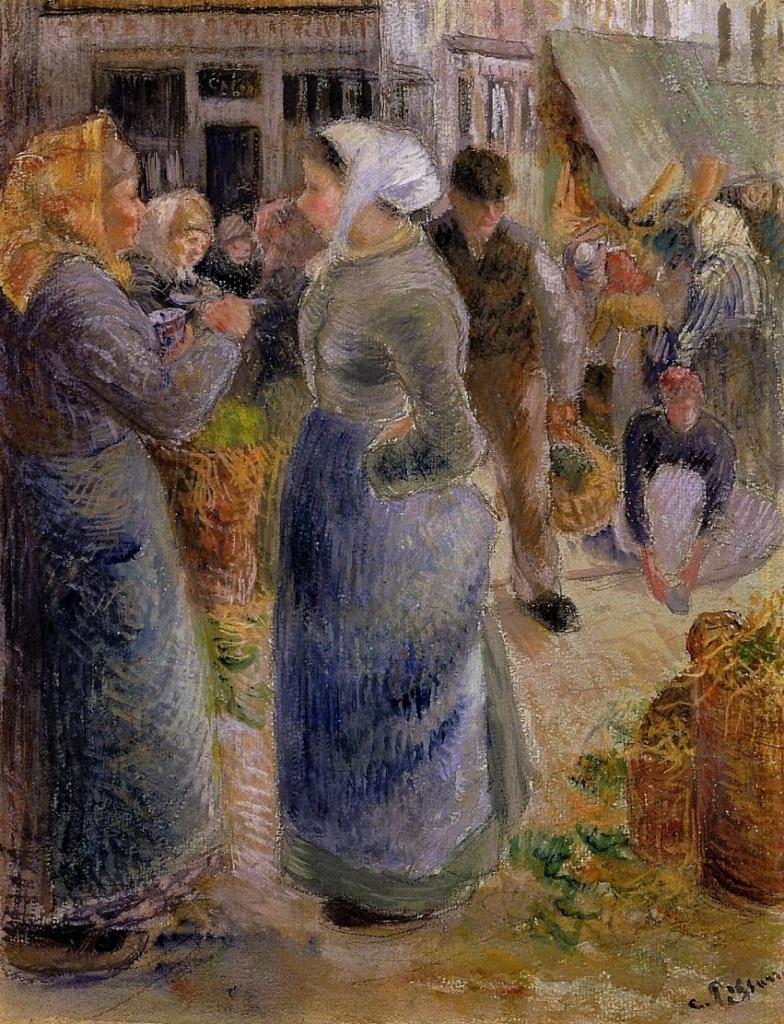 Camille Pissarro, 7IE-1882-130, Marché aux légumes, gouache. Uncertain: 1883ca, The Market, gouache, xx, A2002/05/08