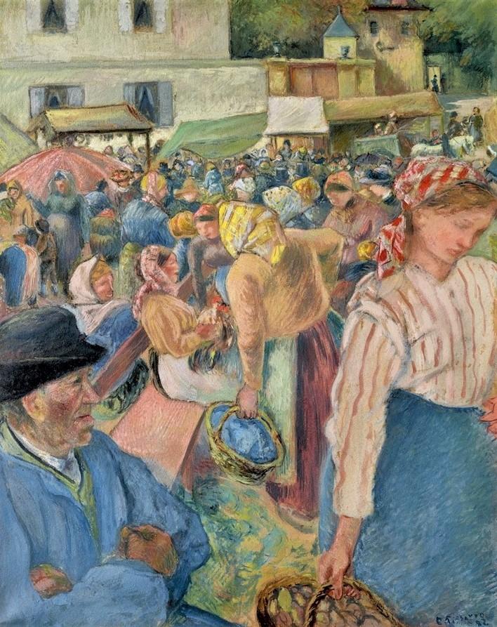 Camille Pissarro, 7IE-1882-131, Marché à la volaille, gouache. Maybe: 1882, The Poultry Market, Pontois, pastel gouache, 81x65, private