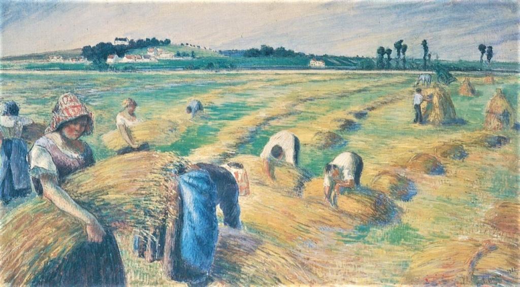 Camille Pissarro, 7IE-1882-136, La moisson, détrempe. Maybe: 1882, La moisson, tempera, 67x120, NMWA Tokyo