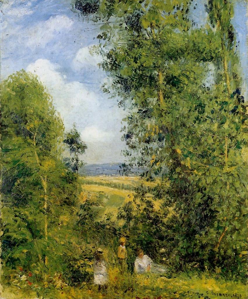 Camille Pissarro, 7IE-1882-136+hc2, Repos dans les bois. Now: 1878, CCP573, Resting in the woods (Côte des Grouettes), 65x54, Kh Hamburg