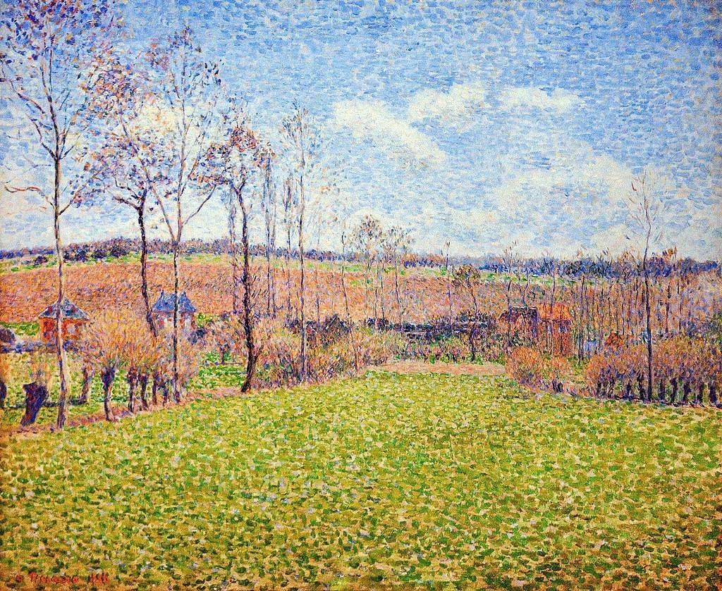 Camille Pissarro, 8IE-1886-101, Marais de Bazincourt, en automne. Compare: 1886, CCP820, Printemps à Éragny, 53x65, Memphis MA