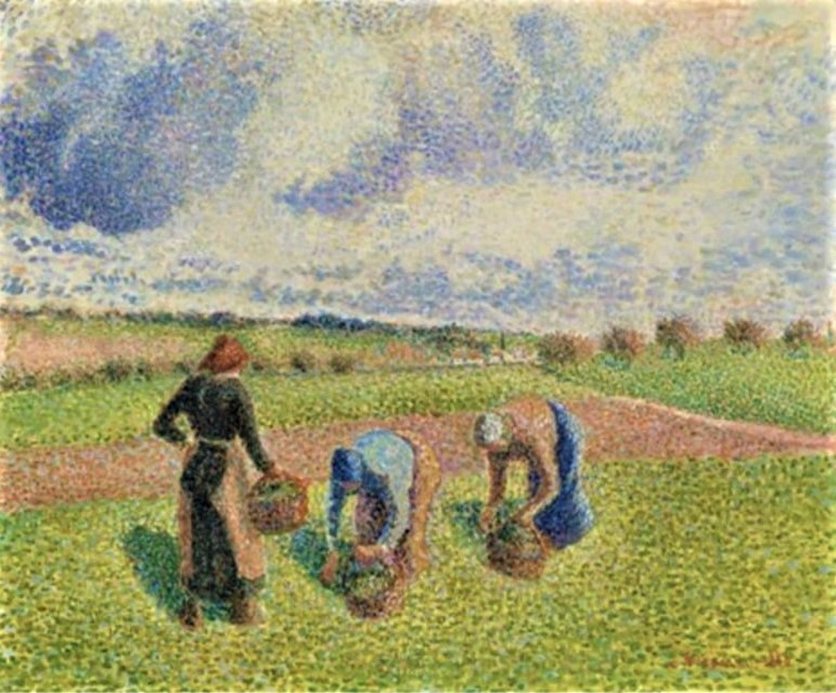 Camille Pissarro, 8IE-1886-102, Plein soleil, paysage aux champs. Now: 1886, CCP830, Peasant women picking herbs, Éragny, 38x46, private