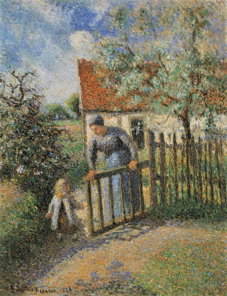 Camille Pissarro, 8IE-1886-102bis, Mère et enfant. Now: 1886, CCP818, In the garden, mother and child, 39x32, private
