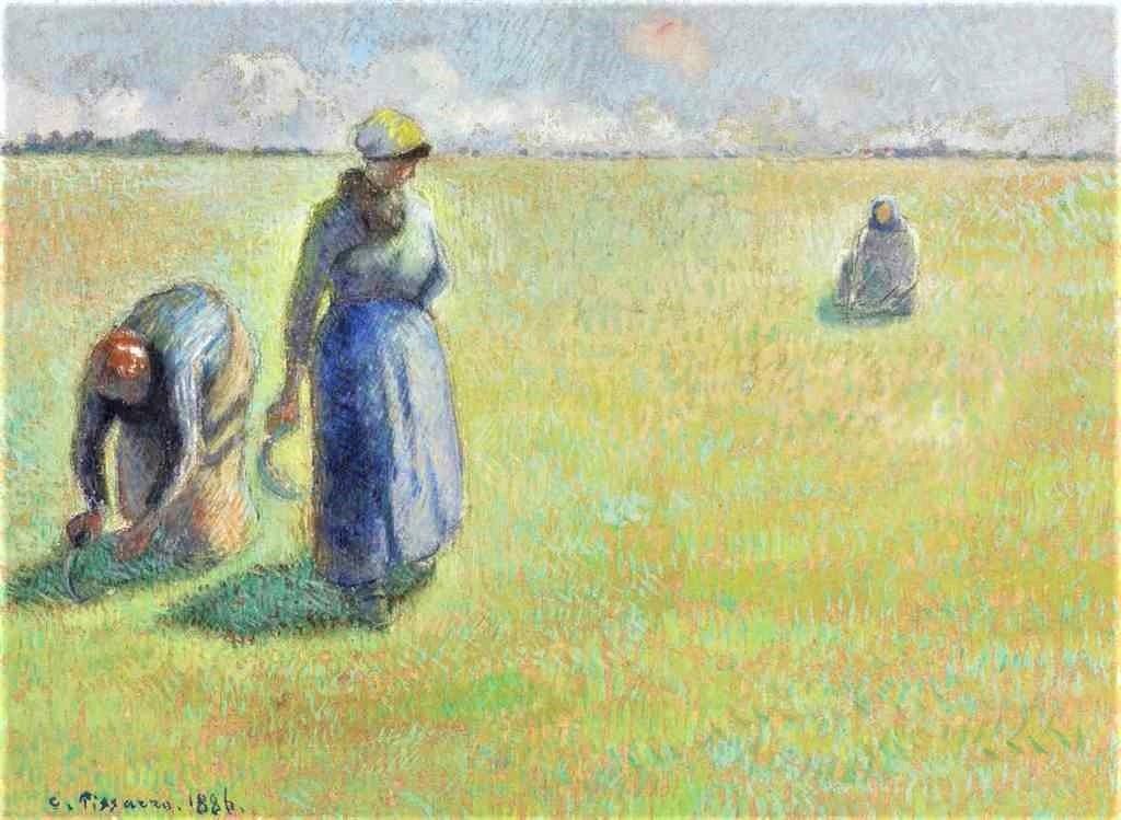 Camille Pissarro, 8IE-1886-104, Paysannes au soleil (gouache). Uncertain: 1886, Three women cutting the grass, gouache, 32x42, A2015/06/23