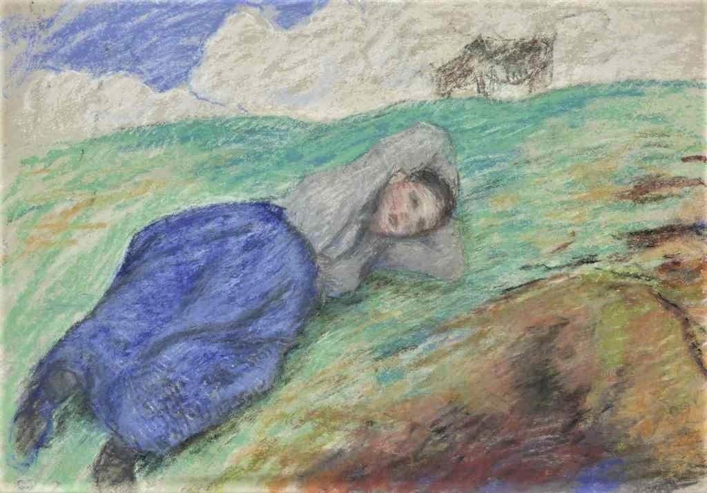 Camille Pissarro, 8IE-1886-107-1, étude de paysannes (pastel). Very uncertain: 1880ca, Gardeuse de vache allongée sur un talus, pastel, 28x37, A2016/05/13