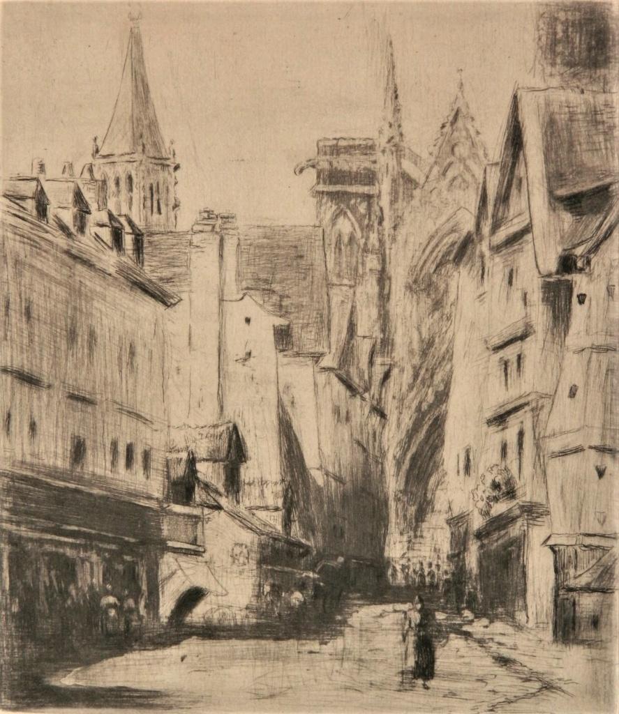 Camille Pissarro, 8IE-1886-110-1, Rue de l'Epicerie à Rouen (eau-forte). Now: 1886, Delteil64, Rue de l'Epicerie, Rouen, etch ps, 16x14, A2017/06/10