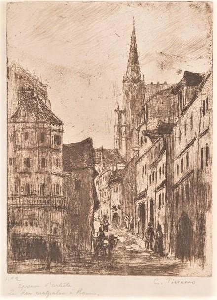 Camille Pissarro, 8IE-1886-110-2, Rue Malpalue à Rouen (eau-forte). Now: 1885, Delteil53, La rue Malpalue, à Rouen, etch, 50x43, A2017/12/14