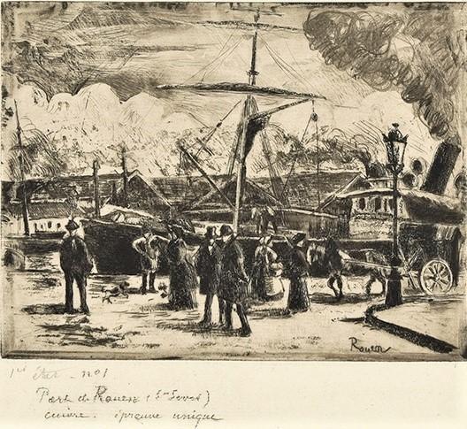 Camille Pissarro, 8IE-1886-112-1, Port de Rouen, effet de pluie (eau-forte). Compare: 1884, Delteil46, Port de Rouen, Saint-Sever (Cours Boiëldieu), etch ps, 15x19, A2017/06/15