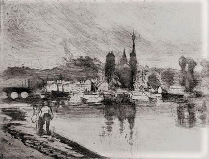 Camille Pissarro, 8IE-1886-113-1, Paysage à Rouen (eau-forte). ~1884, Delteil50, View of Rouen (cours-la-reine), etch, 15x20, MFA Boston