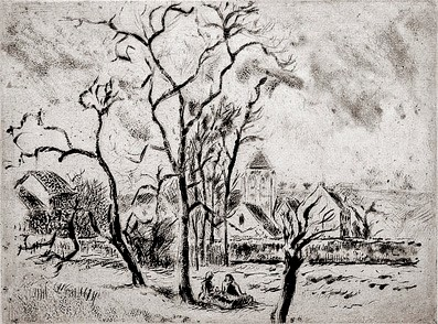 Camille Pissarro, 8IE-1886-113-2, Paysage à Osny (eau-forte). Uncertain: 1885, D61or62~, Church of Osny, etch, 12x16, CdE BN Paris
