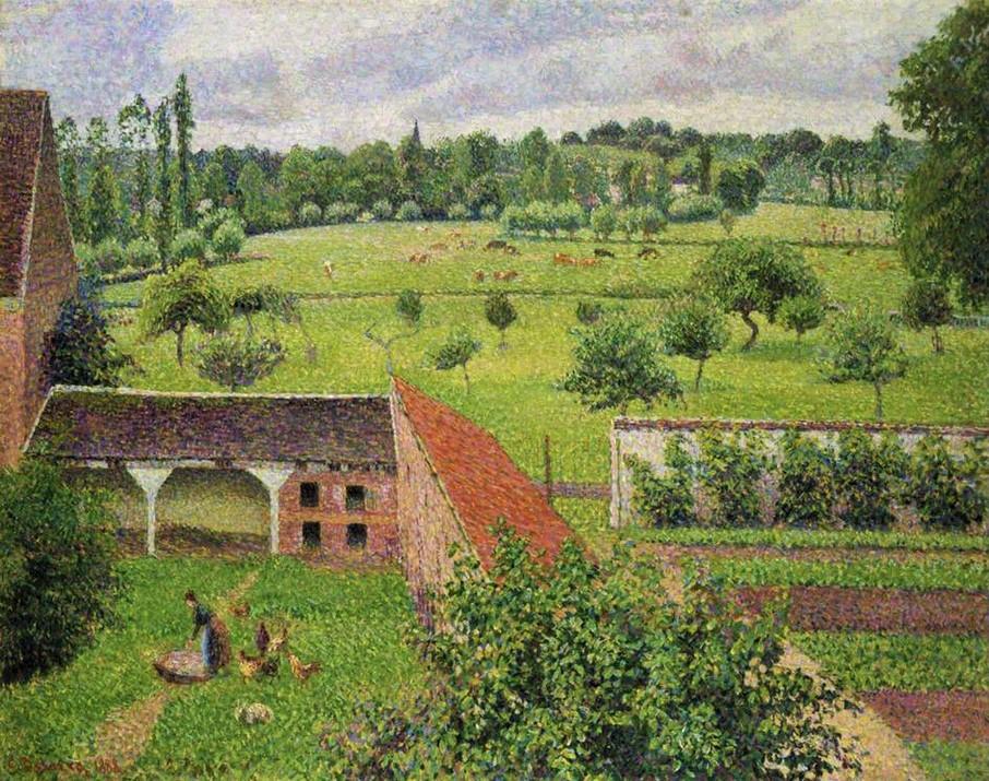 Camille Pissarro, 8IE-1886-95, Vue de ma fenêtre par temps gris. Now: 1886-88, CCP825, View from My Window, Eragny-sur-Epte, 65x81, Ashmolean Oxford