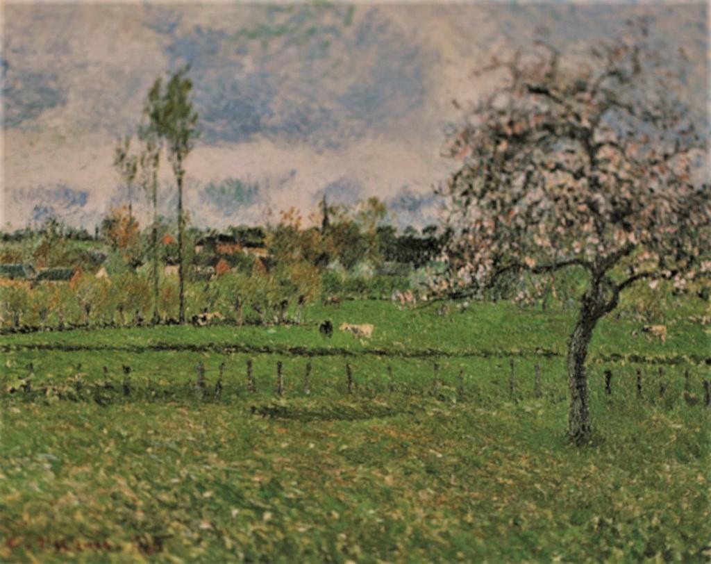 Camille Pissarro, 8IE-1886-96, Prairies de Bazincourt, le matin. Now: 1885, CCP792, Prairie à Éragny, pommier en fleur, 54x65, private