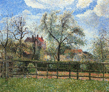 Camille Pissarro, 8IE-1986-98, Poiriers en fleurs, matin. Now: 1886, CCP823, Pear trees in bloom at Éragny, morning, 54x65, Kanagawa PMA