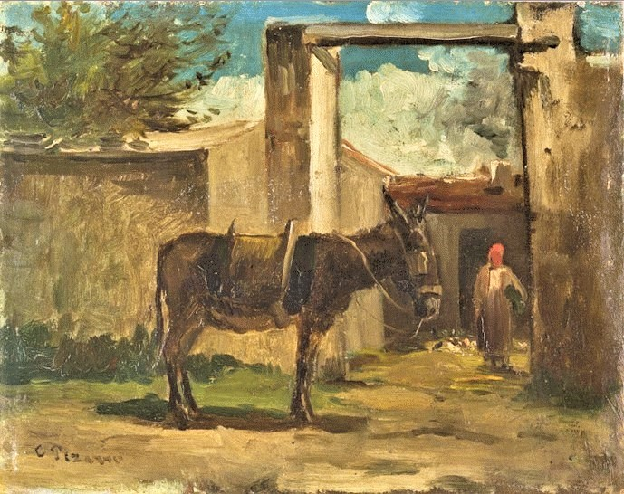 Camille Pissarro, S1859-2472, Paysage à Montmorency. Now: CCP37, 1859ca, Donkey in Front of a Farm, Montmorency, 22x27, Orsay