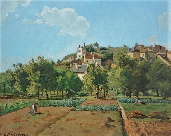 Camille Pissarro, S1868-2016, L'hermitage. Now: CCP115, 1867ca, Le Jardin de Maubuisson, Pontoise (The Gardens of l'Hermitage), 82x100, NGP Prague