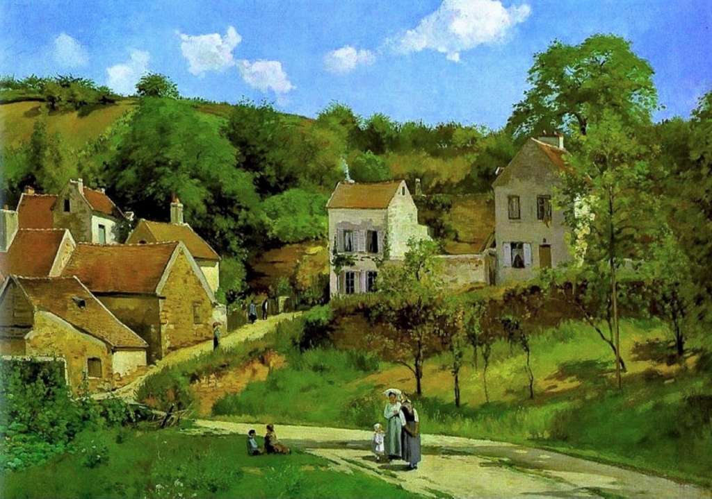 Camille Pissarro, S1869-1950, L'Ermitage. Uncertain: 1867ca, CCP121, The hills at L'Hermitage, Pontoise, 151x206, Guggenheim NY