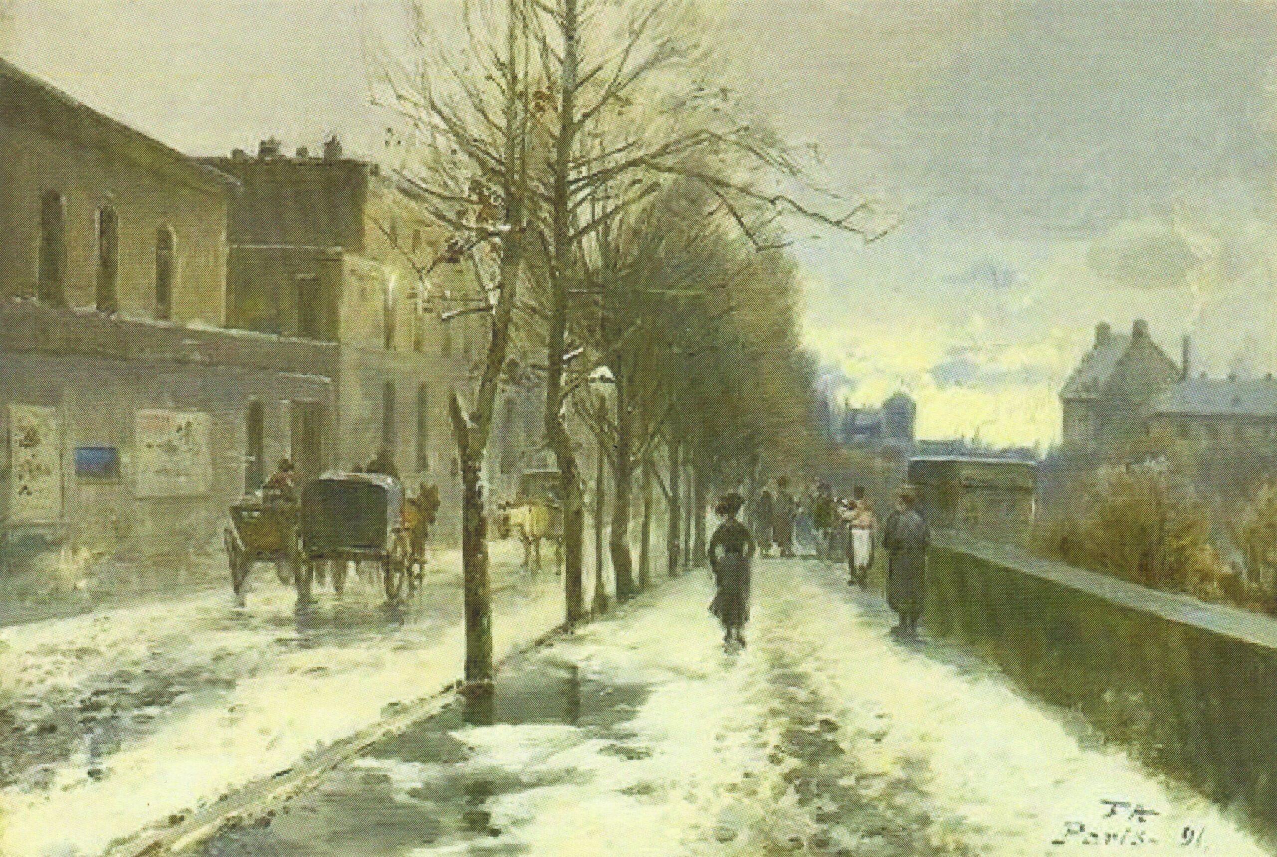 Antoine-Ferdinand Attendu, 1891, Streetview, Winter (Winterliche Straßenansicht), 24x35, Axx (iR13)