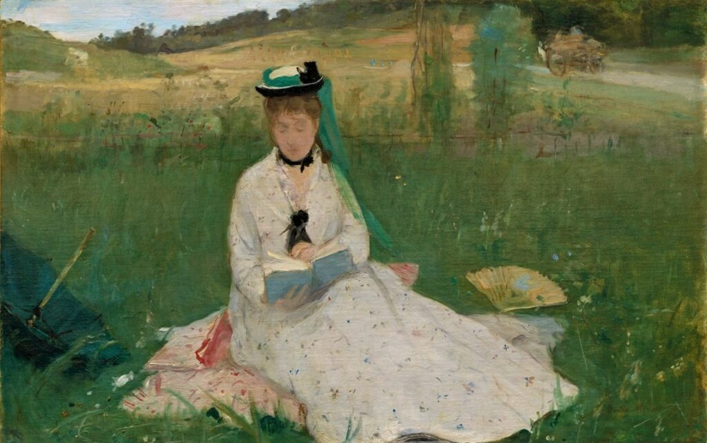 Berthe Morisot, 1IE-1874-105, La lecture. =1873, CR14, Reading (The Green Umbrella; Edma seated on the grass), 46x72, Cleveland MA