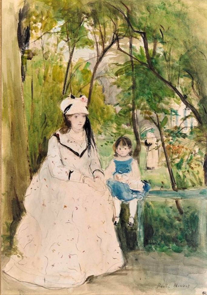Berthe Morisot, 1IE-1874-111, Dans le bois, aquarelle =1872, CR620, Young woman and child on a bench, wc, 33x23, Orsay