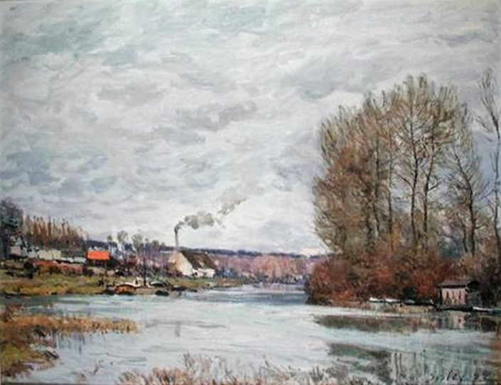 Alfred Sisley, 1IE-1874-163, La Seine à Port-Marly. Maybe(?): 1873, CR72, The Seine at Port-Marly, 50x65, private