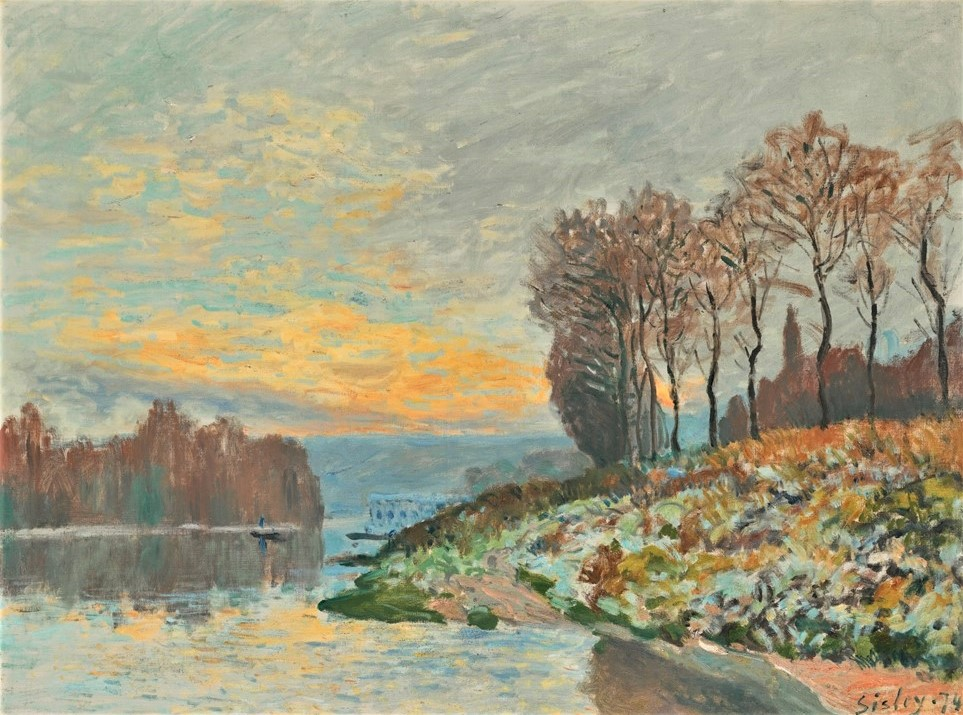 Alfred Sisley, 1IE-1874-165, Port-Marly, soirée d'hiver. Maybe(??): 1874, CR110, the Seine near Bougival, winter morning, 53x27, A2013/02/05