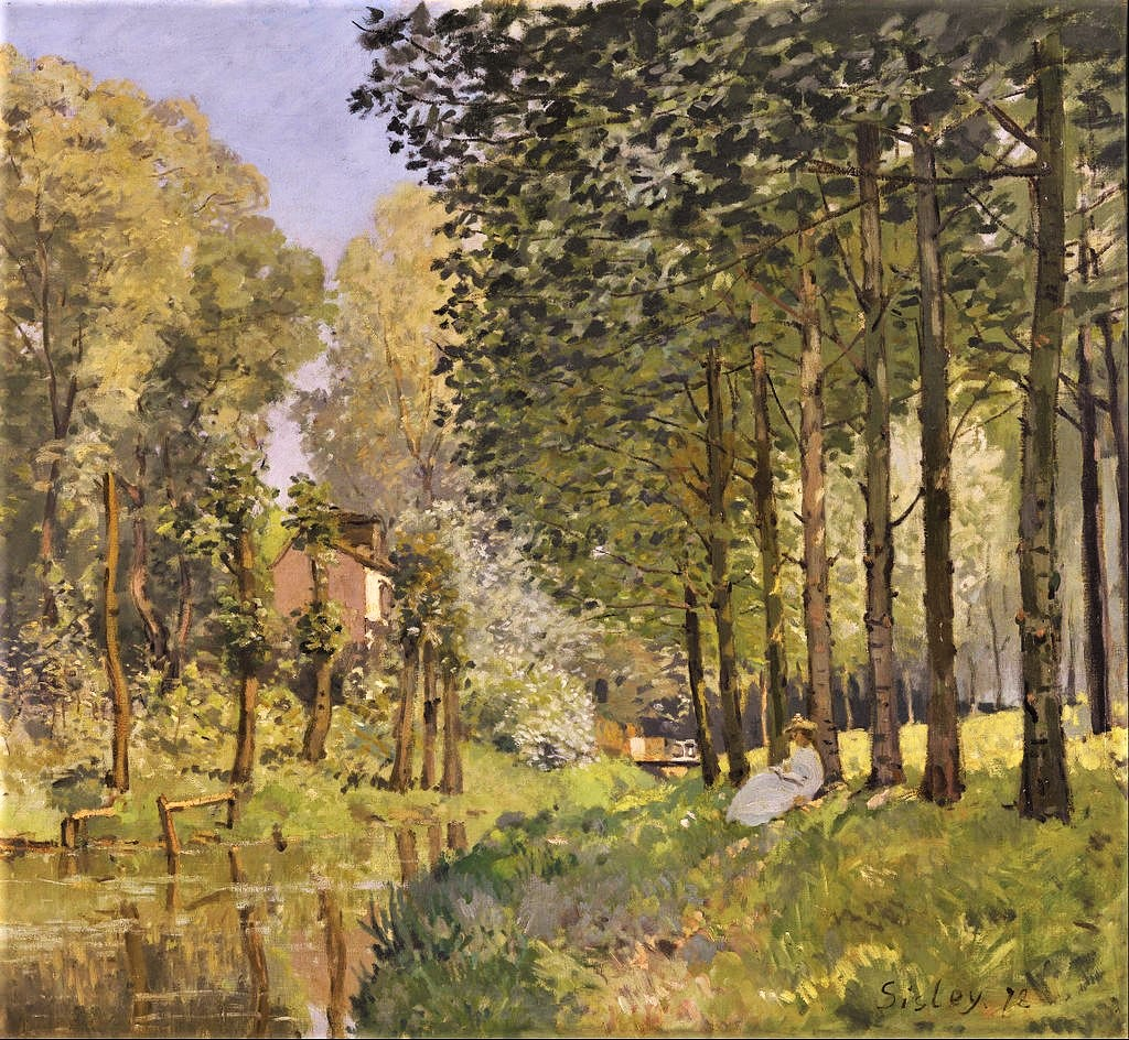 Alfred Sisley, 2IE-1876-241, Le Bord d'un ruisseau. Environs de Paris. Maybe(?): 1872, CR42, (1878) Rest beside the Stream, Edge of the Wood, 74x81, Orsay