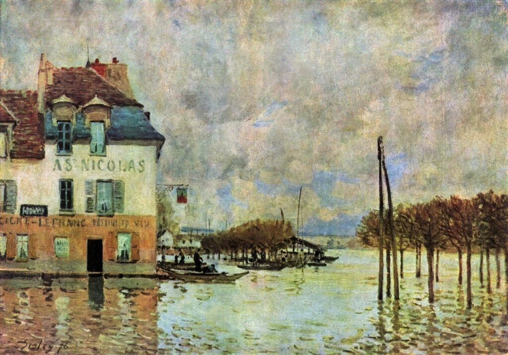 Alfred Sisley, 2IE-1876-244, Inondations à Port-Marly. Now: 1876, CR240, L'Inondation à Port-Marly, 46x61, Orsay