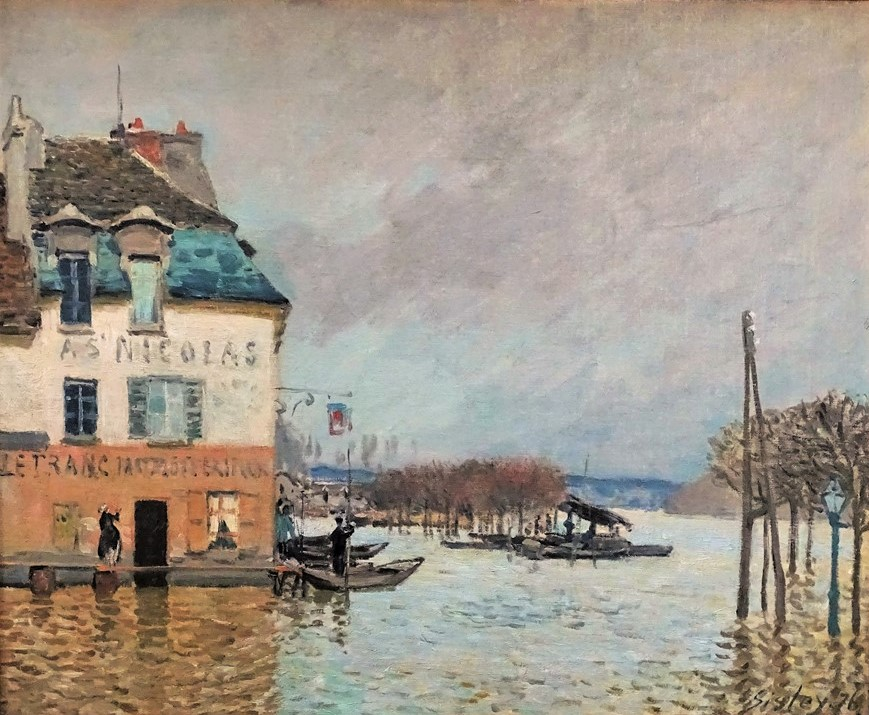 Alfred Sisley, 2IE-1876-244+hc1, Inondations à Port-Marly. Maybe(?): 1876, CR237, (the boat during) The Flood at Port-Marly , 50x61or60x80, MBA Rouen