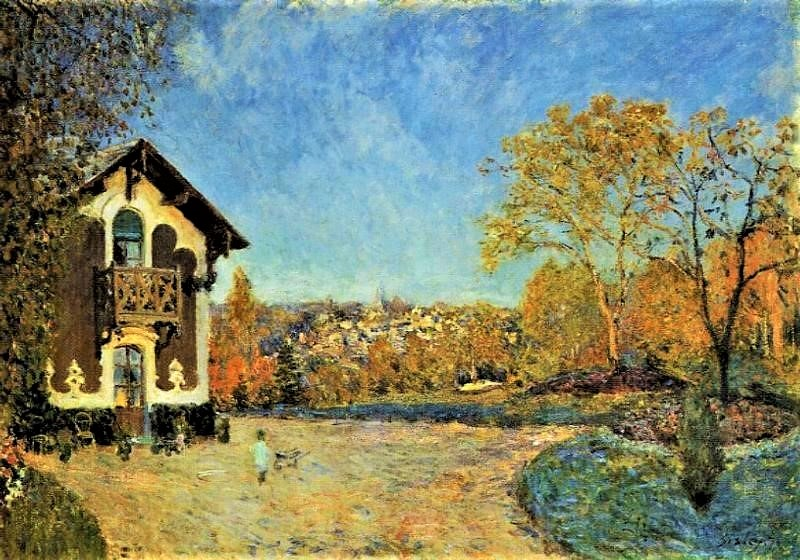 Alfred Sisley, 3IE-1877-211, Le Chalet, Gelée blanche. =1876, CR208, View of Marly-le-Roi from House at Coeur-Volant, 65x92, Metropolitan