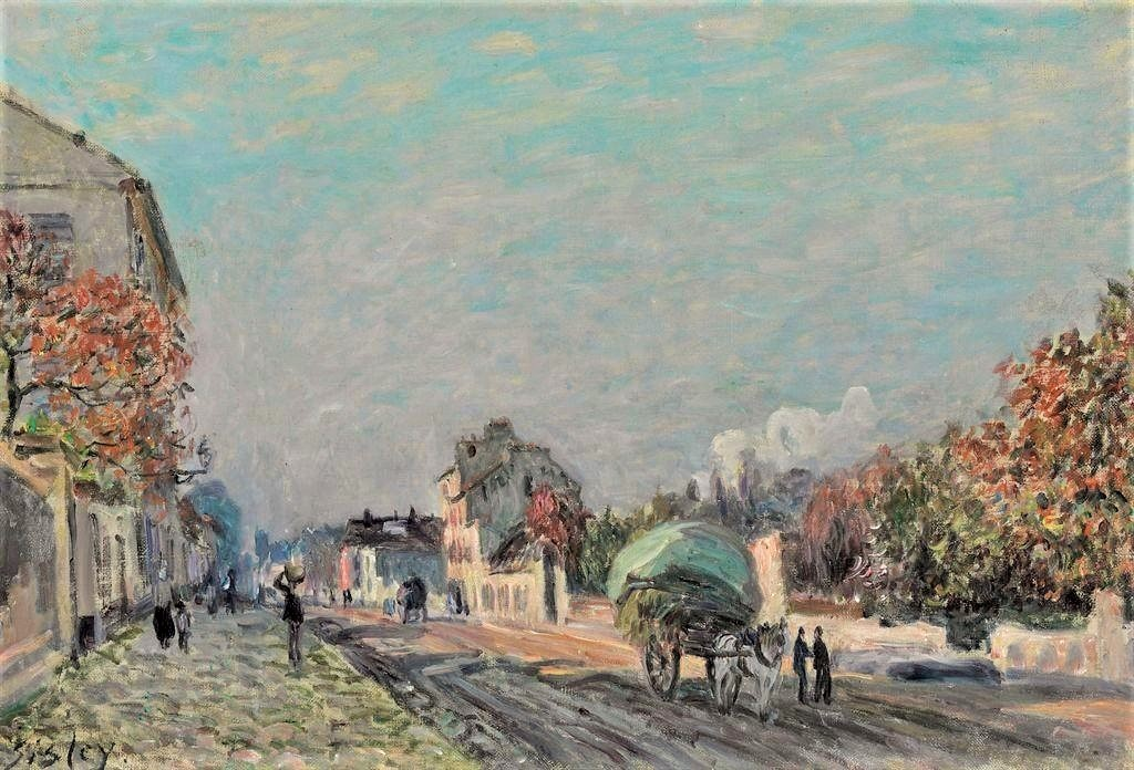 Alfred Sisley, 3IE-1877-213, Route, le soir. Maybe: 1876, CR201, A road in Marly, 38x56, A2010/11/03