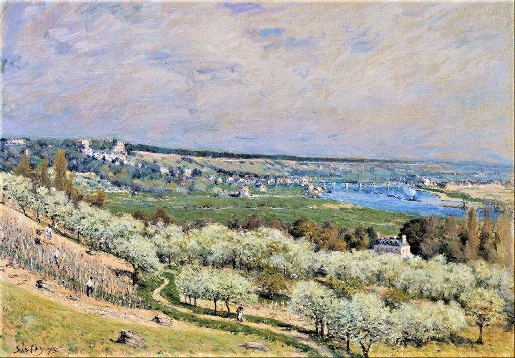 Alfred Sisley, 3IE-1877-217, La Seine au Pecq. Compare: 1875, CR164, The Terrace at Saint-Germain, Spring, 74x99, WAM Baltimore