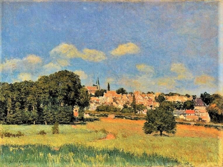 Alfred Sisley, 3IE-1877-218, Champs de foin. Compare: 1876, CR211, View of Marly-le-Roy, sunshine, 54x73, AGO Toronto