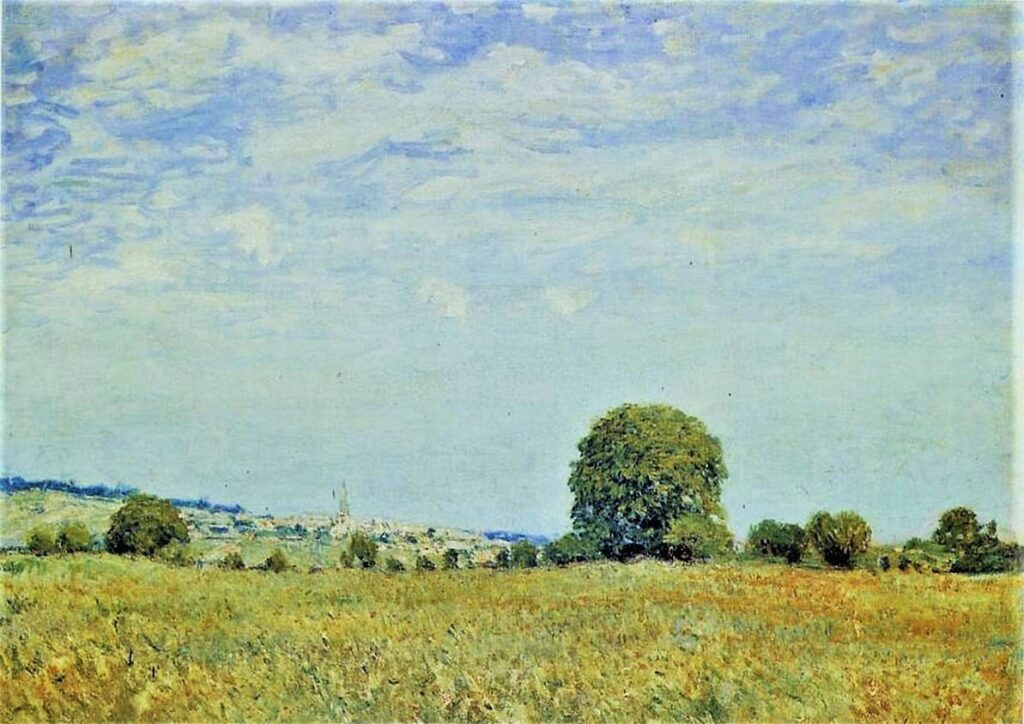 Alfred Sisley, 3IE-1877-218, Champs de foin. Compare: 1876, CR212, Fields at Saint Cloud, 54x73, private