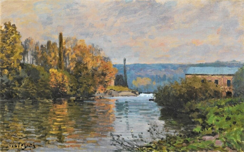 Alfred Sisley, 3IE-1877-219, La machine de Marly. Compare: 1873, CR70?, Le barrage de la machine à Marly, 38x61, A2018/11/13