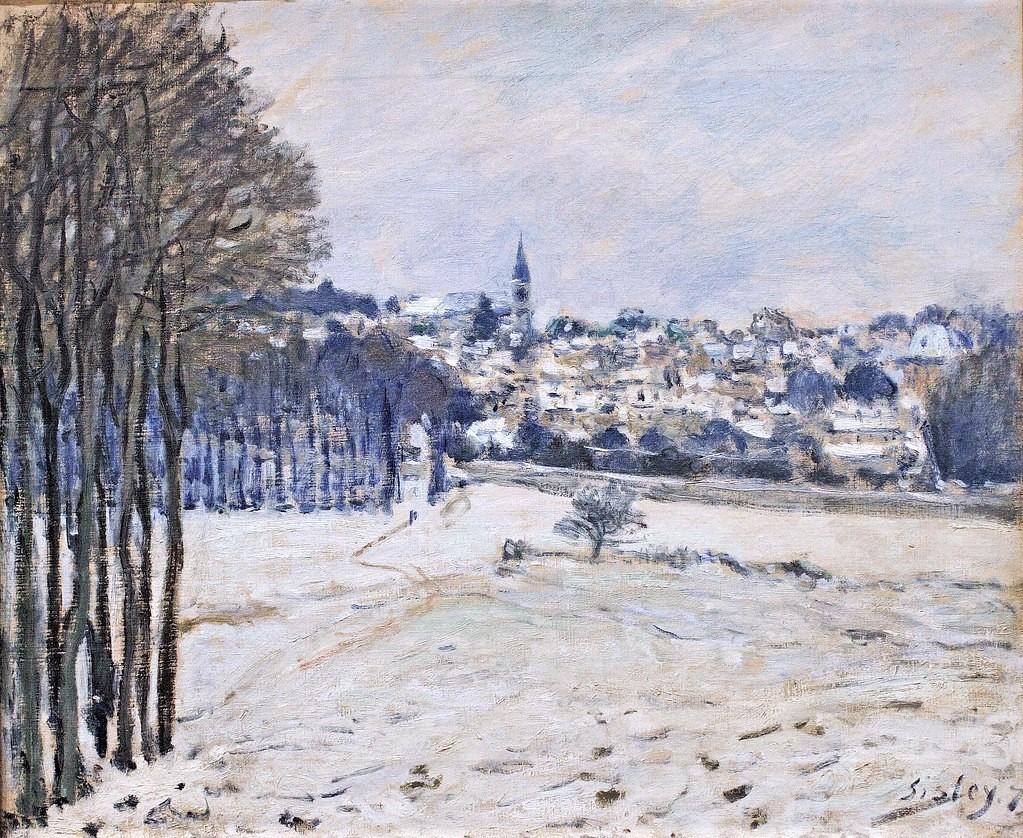 Alfred Sisley, 3IE-1877-224, Village de Marly, effet de neige. Maybe(??): 1875-6, CR153, La neige à Marly-le-Roi, 46x55, Orsay