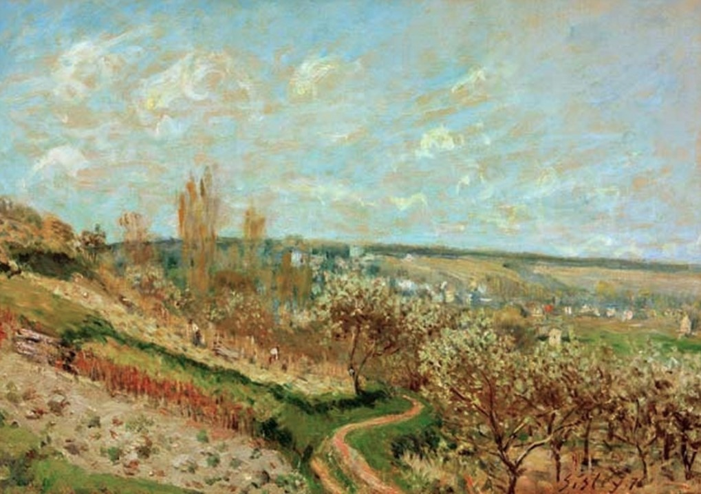 Alfred Sisley, 3IE-1877-226, Terrasse à Marly. Maybe(??): 1876, CR214, Spring in Saint-Germain-en-Laye, 38x56, private