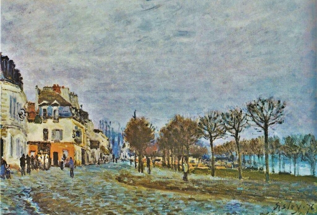 Alfred Sisley, 3IE-1877-227, Inondations. Maybe(?): 1876, CR235, Port Marly and the Flooding, 38x55, private