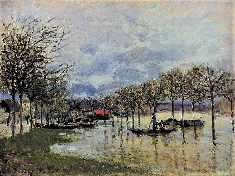 Alfred Sisley, 3IE-1877-227, Inondations. Maybe(?): 1876, CR238, The Flood on the Road to Saint-Germain, 46x61, MFA Boston