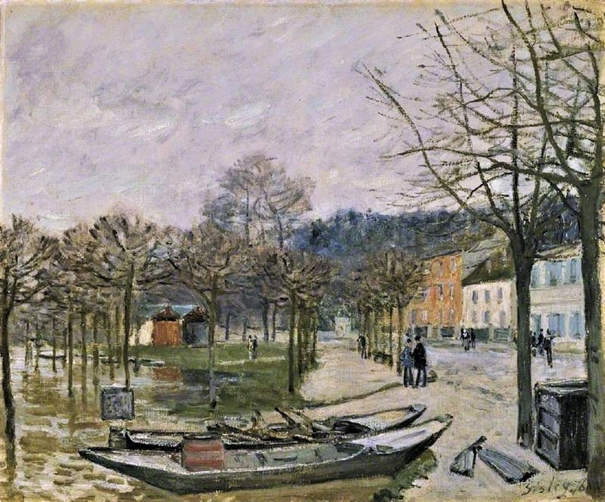 Alfred Sisley, 3IE-1877-227+hc1, Inondations. Maybe(?): 1876, CR241, Flood at Port-Marly, 46x56, FM Cambridge