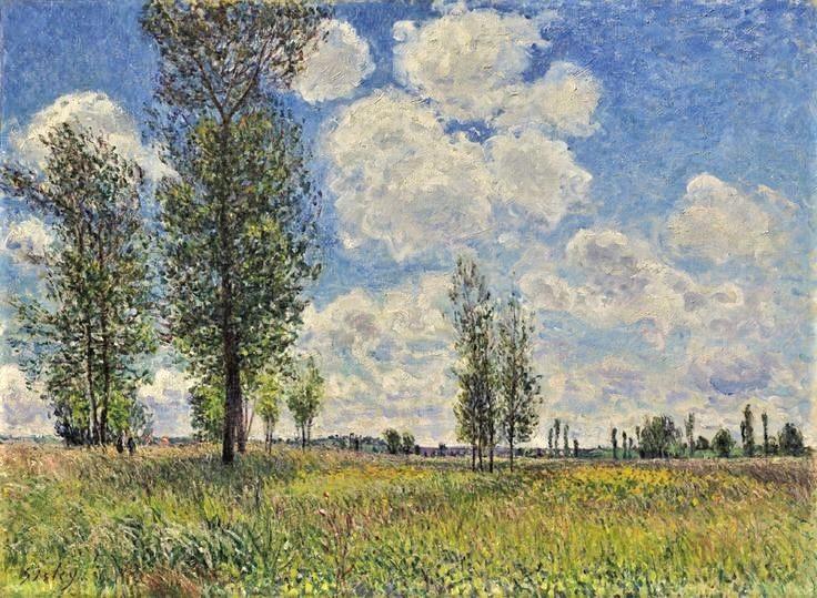 Alfred Sisley, 7IE-1882-162, Prairie de Veneux-Nadon. Now: 1881, CR430, Meadows of Veneux-Nadon, 60x81, private