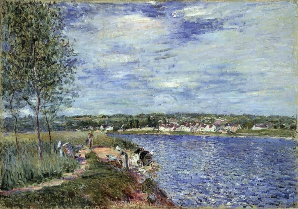 Alfred Sisley, 7IE-1882-166, Les Laveuses. Maybe(?): 1882, CR466, Washerwomen, near Champagne, 54x65, Ottawa NGC