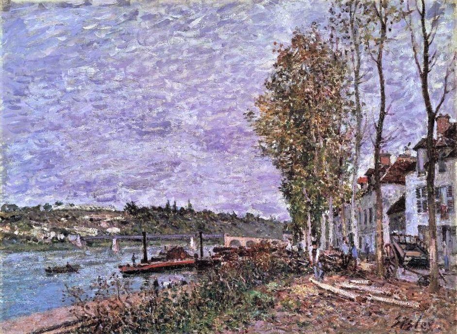 Alfred Sisley, 7IE-1882-169, Saint-Mammès, temps gris =1880ca, CR374, Overcast Day at Saint-Mammès, 55x74, MFA Boston