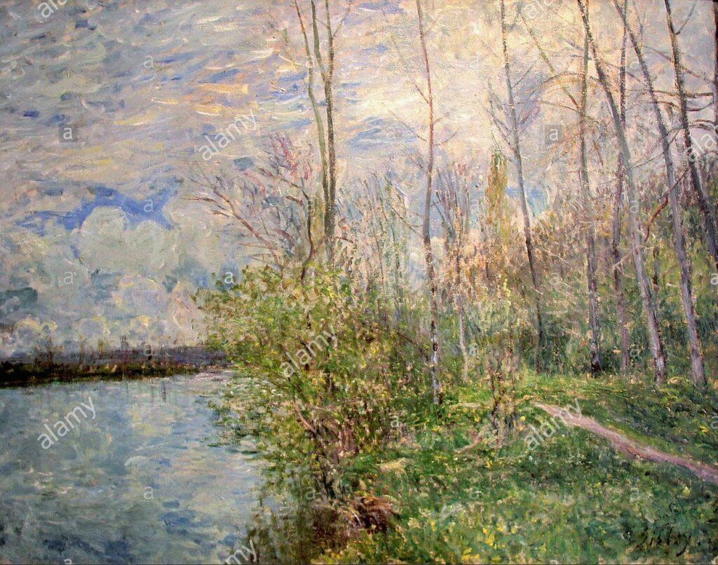 Alfred Sisley, 7IE-1882-172, paysage, temps orageuse =1881, CR405, Le chemin de petits prés à By, temps d'orage, 55x73, MBA Nice (loan Musée d'Orsay)