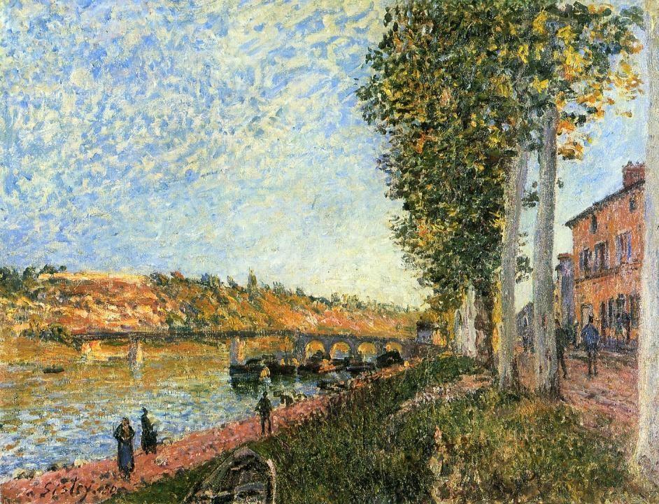 Alfred Sisley, 7IE-1882-174, St Mammès et les coteaux de la Celle. Maybe(?): 1880, CR376, Sunrise at Saint-Mammès, 50x65, private