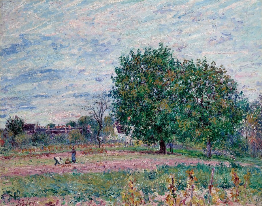 Alfred Sisley, 1882, Walnut Trees, Sunset, Early Days of October, 73x92, A2018/11/12 (iR11;iR2). Compare: 7IE-1882-175, Un noyer à Veneux = CR432.