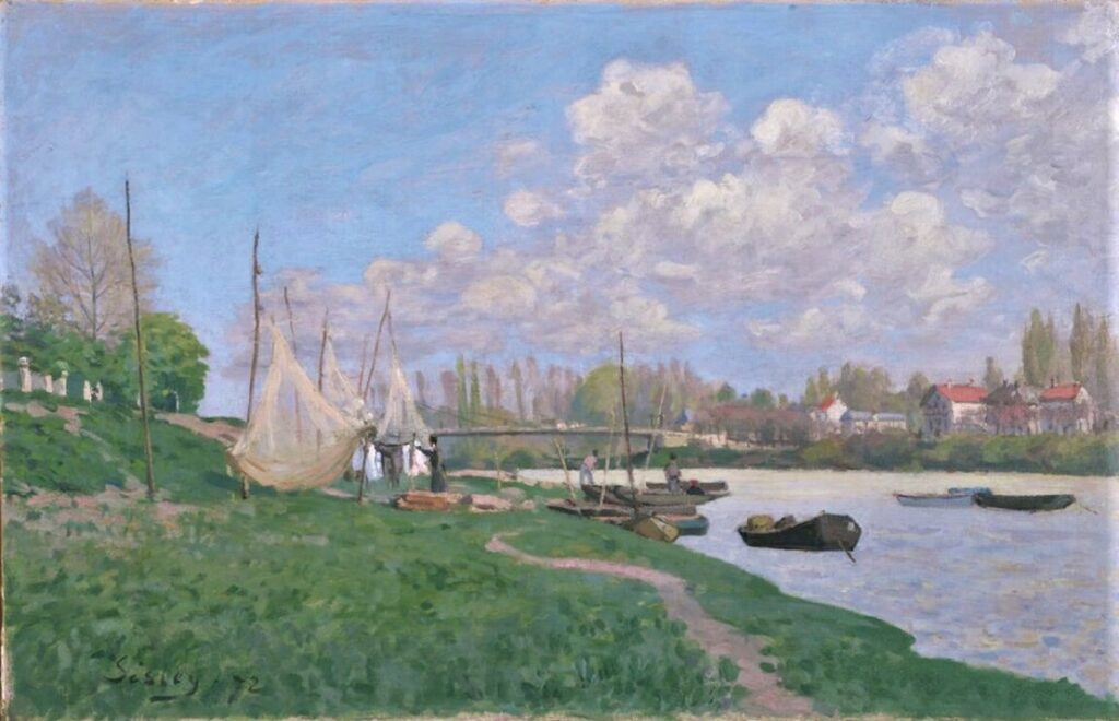 Alfred Sisley, 7IE-1882-178, La Seine à St-Denis. Maybe(?): 1872, CR27, Fishermen spreading out their nets, 50x65, KAM Fort Worth