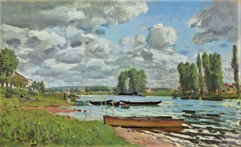 Alfred Sisley, 7IE-1882-178, La Seine à St-Denis. Maybe(?): 1872, CR48, Bords de la Seine, près d'Île Saint-Denis, 46x65, private