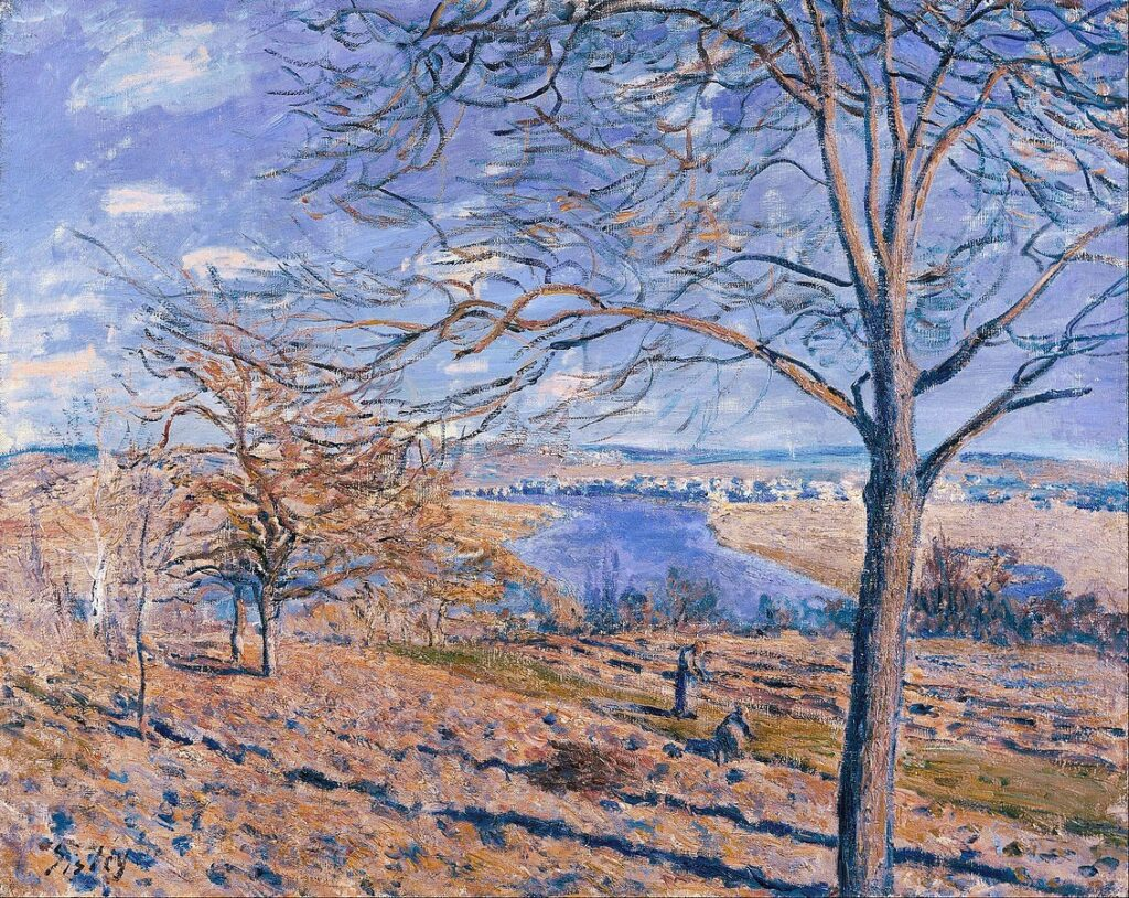 Alfred Sisley, 7IE, 1882-176, Soleil d'hiver à Veneux. Maybe(??): 1881, CR420, Banks of the Loing, Autumn Effect, 66x82, MdI Jerusalem