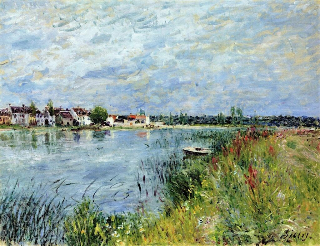 Alfred Sisley, 7IE-1882-182, La Vue du bord de l'eau à Saint-Mammès. Maybe(??): 1880, CR388, Riverbank at Saint-Mammès, 51x66, A2017/06/27
